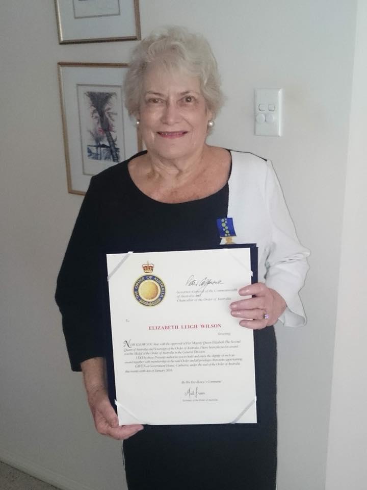 Elizabeth Wilson OAM certificate