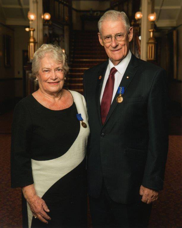 Elizabeth Wilson OAM with Gary Wilson OAM at Elizabeth's investiture